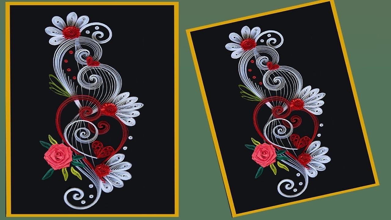 How To Make Beautiful Quilling Flower Design Greeting Card Paper