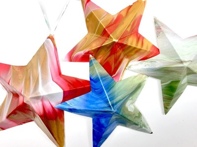 How to make Simple 3-d  Paper Stars Using Fluid Acrylic Dipped Card