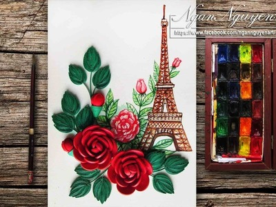 How To Paint The Eiffel Tower in Watercolor with Quilling Rose