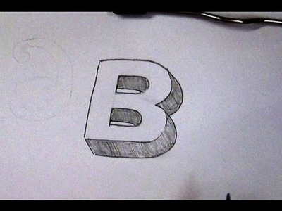 How To Write Letter B in 3D. Easy 3D Sketch Tutorial For Kids