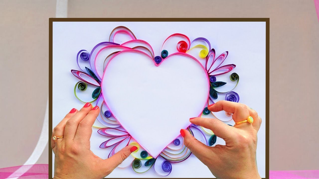 Paper quilling card how to make a beautiful heart design paper quilling card how to make a beautiful heart design greeting card kristyandbryce Image collections