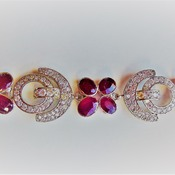 Ruby and zircon Bracelet/Valentines Day Gift for her/Birthday gift for her