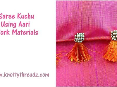 Saree Kuchu Using Sugar Beads and Zardosi   Kuchu with Aari Materials   www.knottythreadz.com