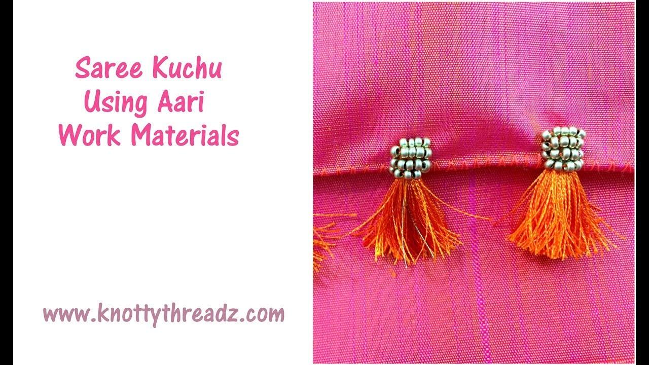 Saree Kuchu Using Sugar Beads and Zardosi | Kuchu with Aari Materials | www.knottythreadz.com