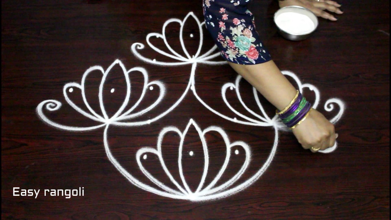 Simple Flower Kolam Designs With 7x1 Dots 7 Dots
