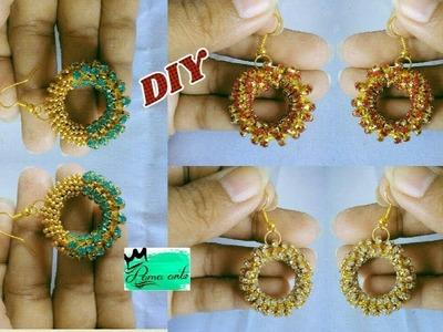 Stone lace earrings - How to make silk thread earrings | jewellery tutorials