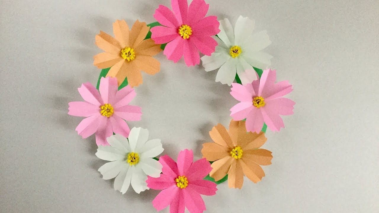【折り紙】コスモスのリース Cosmos Wreath