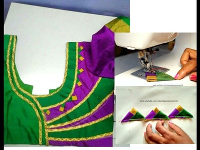 3 Triangles Designing Secret TECHNIQUE to make Designer Blouse, Churidar Neck, Saree Borders | - DIY