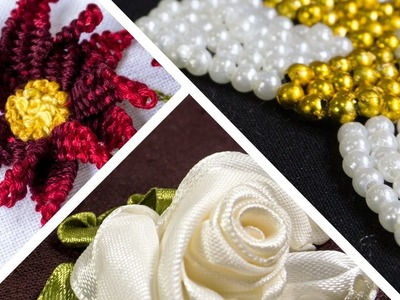 3 Types of Embroidery Flowers | Ribbon | Beads | Threads