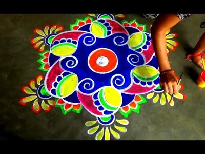 9 to 5 Dotted Beautiful new Rangoli design. Easy kolam designs
