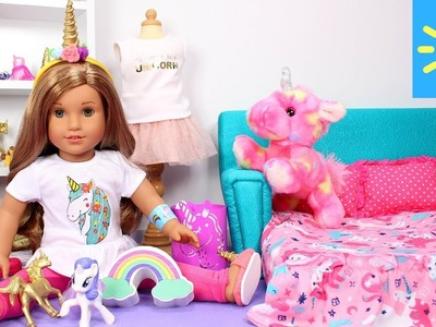 Baby Doll Bedroom with Unicorns & Rainbows! American Girl doll play dress up