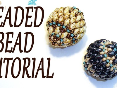 Beaded bead tutorial - How to make a beaded bead - Miniduo beaded bead tutorial - Beading tutorial
