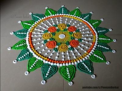 Beautiful and easy rangoli design for Dussehra | Rangoli by Poonam Borkar
