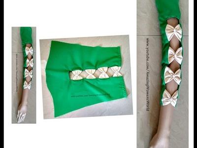 Beautiful Bow Straps Sleeves ( Baju ) Making for Churidars ,Kurtis, Saree Blouses, Dresses