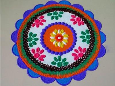 Beautiful dark circle rangoli design.by DEEPIKA PANT