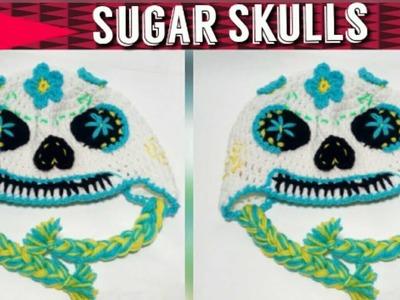 Crochet Sugar Skull Hat  - Crochet Day of the Dead Skull