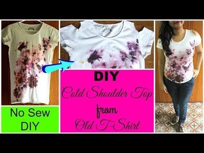 DIY Cold Shoulder Top at Home   Convert T-Shirt into a Cold Shoulder Top in 5 Minutes ( No Sew DIY)
