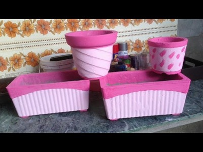 How to make cement pot at home using plastic pot