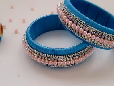 How To Make Designer Silk Thread Bangle.kada||Silk Thread Pearl Bangles (Tutorial)