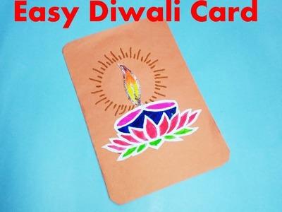 How to make Super Easy Diwali Card for Kids || Diwali Card #1