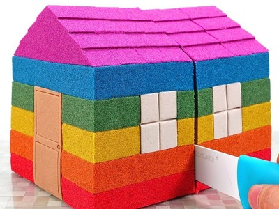Kinetic Sand Rainbow House Play Mobile Surprise Toys Learn Colors for Kids