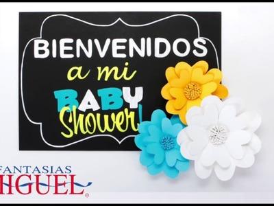 Letrero Con Flores De Papel Baby Shower