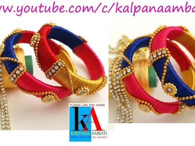 Making of Designer Silk Thread Bangles with Flower Rings. Baby Model silk thread bangles