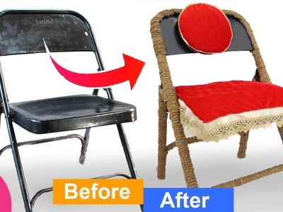 Old Chair MakeOver | Make folding Chair Beautiful from Jute.Rope and waste Clothe |Best out of Waste