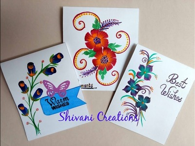 One Stroke Painting Cards using Three Techniques. How to Paint flowers