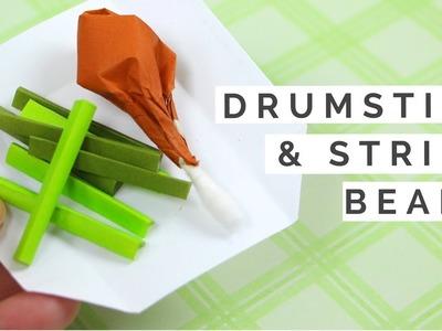 Origami Food Tutorial - Drumstick & String Beans - How to Make Origami Drumsticks & Vegetables