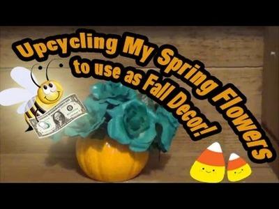 Spray Paint Spring Dollar Tree Flowers to repurpose as Fall decor!