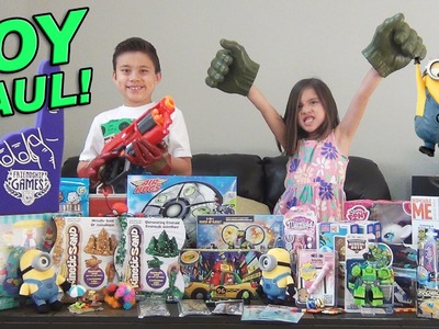 SUPER TOY HAUL! Toy Fair SURPRISE BOX from Ourselves! Minions, Avengers, My Little Pony, Nerf!