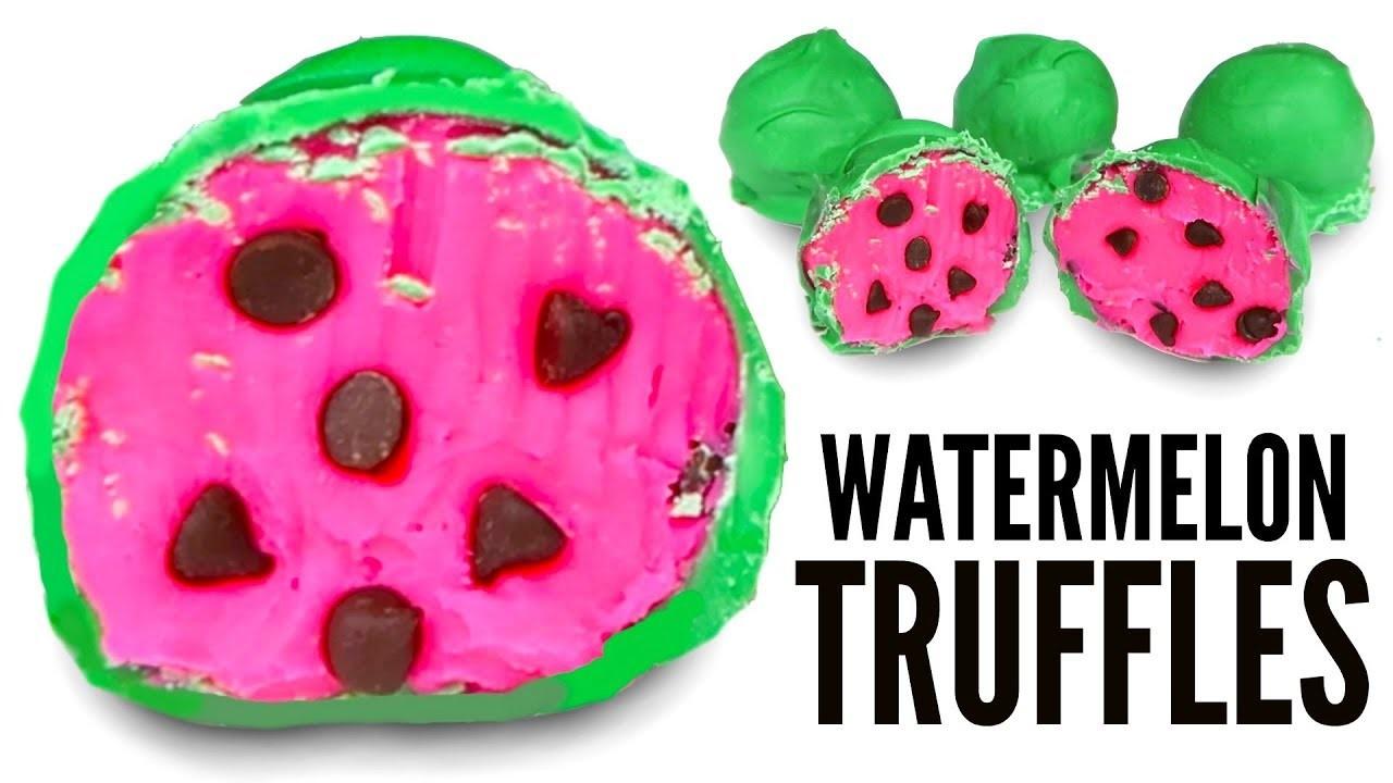WATERMELON CANDY TRUFFLES - How To Make Candy Chocolate Truffles DIY