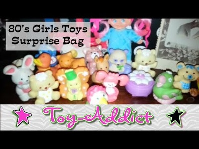 80's Girls Vintage Toys Surprise Bag ~ Strawberry Shorcake, Sweet Secrets, Flatsy ~ Toy-Addict