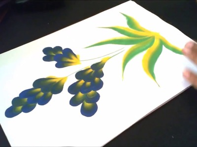 Beautiful floral painting with one stroke painting technique