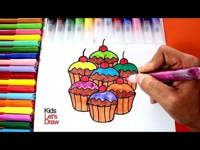 Cómo Dibujar y Pintar Cupcakes de Colores   How to draw and paint Rainbow Cupcakes
