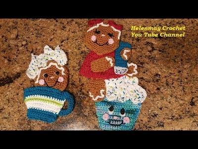 Crochet Gingerbread How Sweet It Is Hot Pad Potholder Part 1 of 2 DIY Video Tutorial