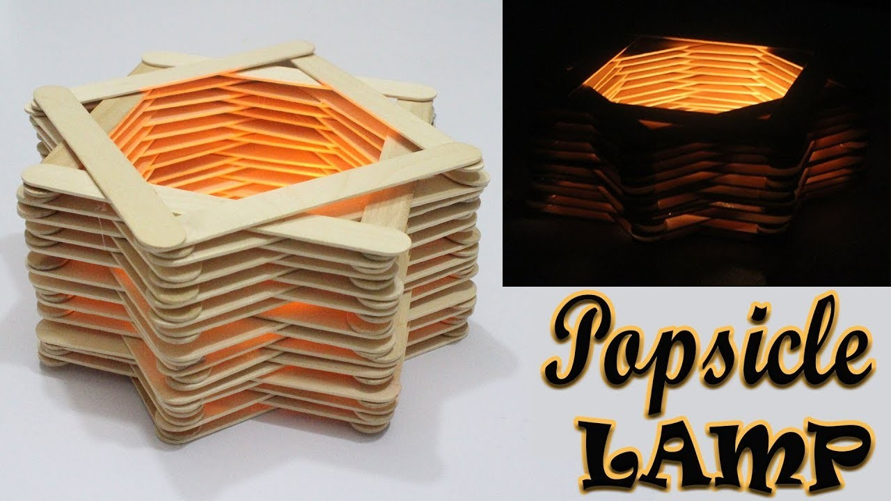 DIY ROOM DECOR How To Make A Popsicle Stick Lamp Easy Crafts Ideas
