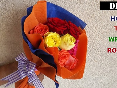 Flower Bouquet Wrapping   Easy & Quick Tutorial with Roses
