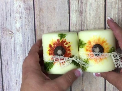 How to add a stamped image to a candle using the Painted harvest stampset by Stampin' Up!