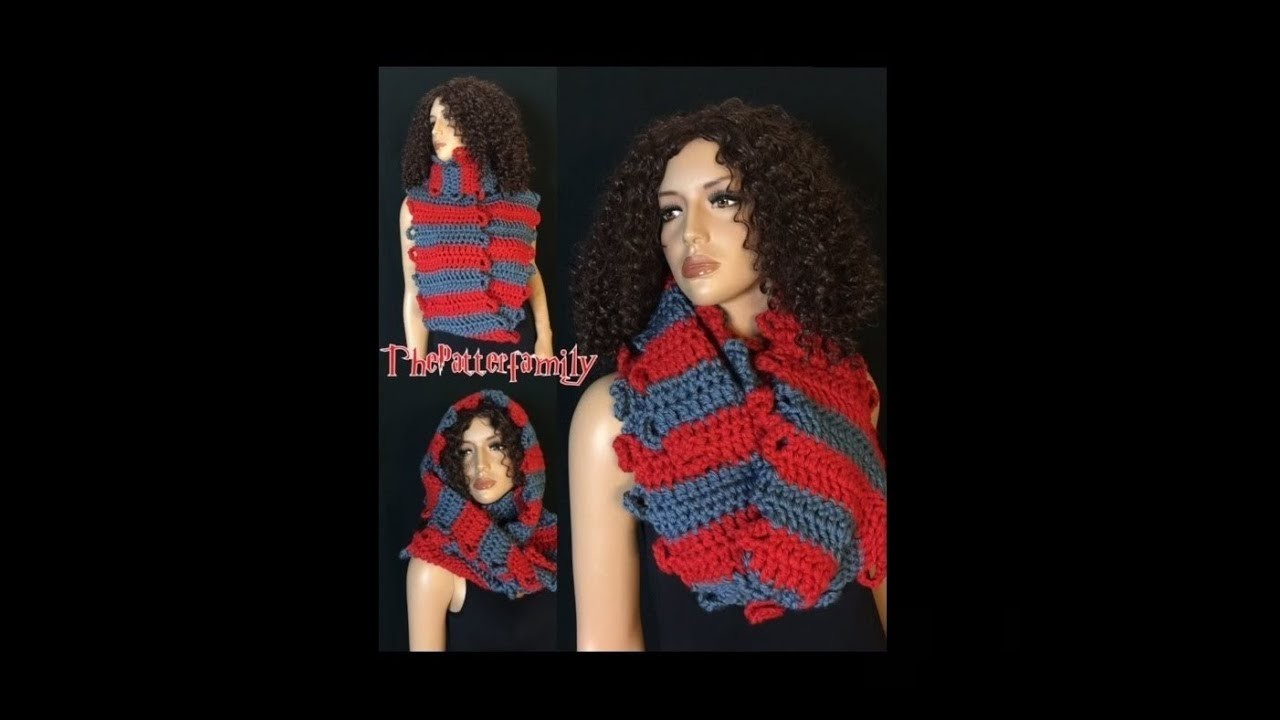 How to Crochet Reversible Striped Infinity Scarf Pattern #144│by ThePatternfamily