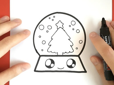 HOW TO DRAW A  SNOW GLOBE CUTE AND EASY