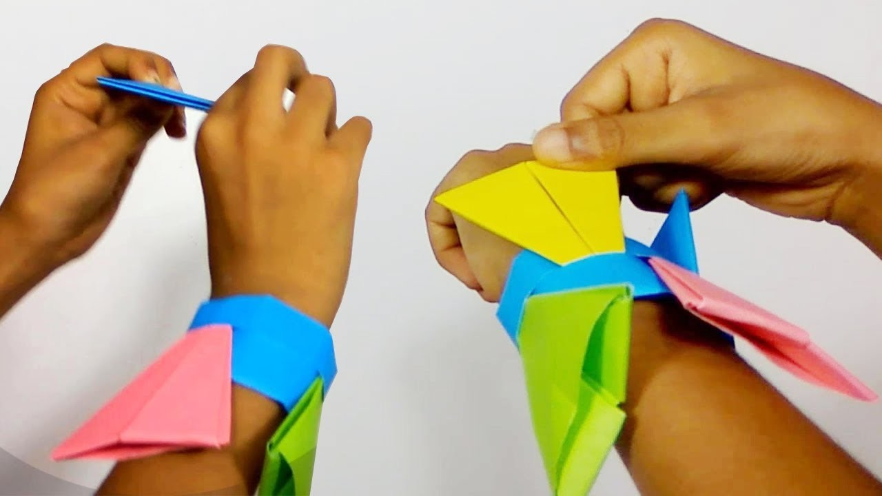 How To Fold An Origami Ninja Arrowhead Flying Flicker With Holder Wristband Bracelet