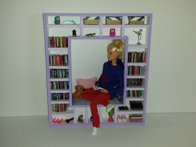 How to make a Doll Book Shelf with Lounge Area