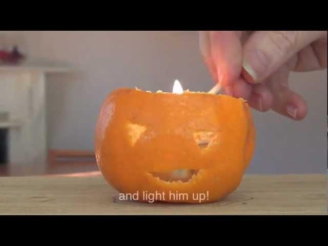 How to make a mandarin jack o' lantern