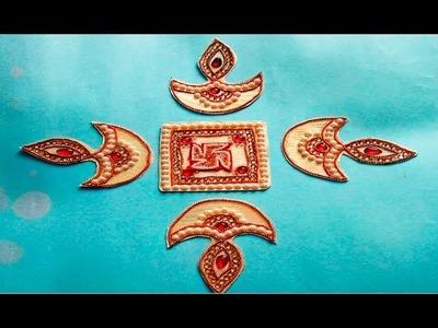 How to make Acrylic Diya Rangoli at Home || Diwali special Home decor