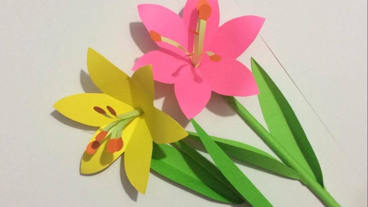 How To Make Lily Flower With Paper Making Paper Flowers Step By
