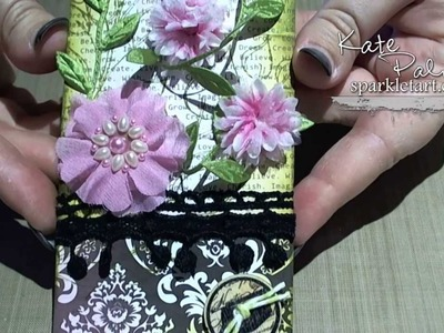 Using Tim Holtz Distress Inks and Prima Flowers to Create a Floral Gift Tag