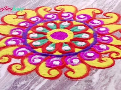 Very Easy Colorful Rangoli Design with Circles for Diwali Decoration