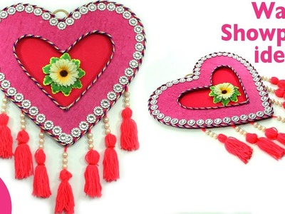 Very Easy & Unique Heart Shape Wall Showpiece using Waste CardBoard & Woolen  for Home Decor
